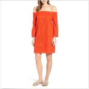HALOGEN Dress L Orange Off Shoulder Eyelet Cotton